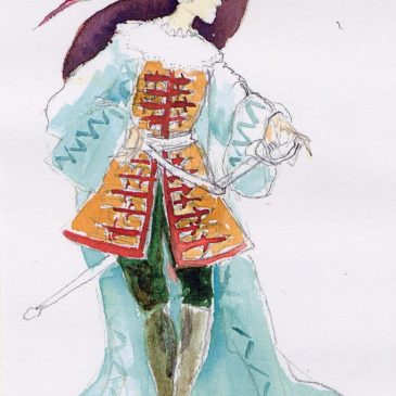 Le capitain – croquis costume